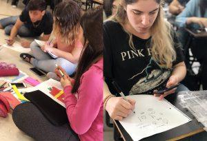 Estudiantes de Multimedia en el taller de Diego Giaccone